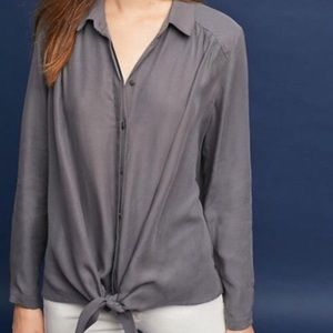 Anthropologie Maeve Gray Tuesday Blouse Size S